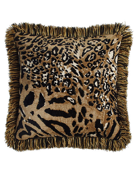 """Sweet Dreams Reversible Madagascar Pillow with Fringe, 18""""Sq."""