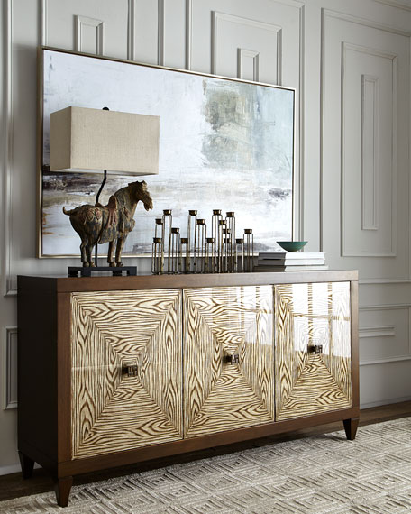 Faux Bois Three-Door Console