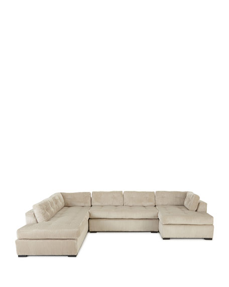 """Old Hickory Tannery McLain Ivory 3-Piece Left-Side Chaise Sectional 136.5"""""""