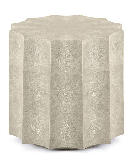 Image 3 of 3: Regina Andrew Marilyn Faux Shagreen Scalloped Side Table