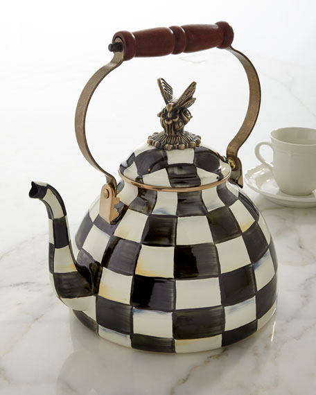 MacKenzie-Childs Courtly Check 3-Quart Tea Kettle with Butterfly
