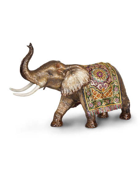 Image 1 of 3: Tapestry Large Elephant Figurine