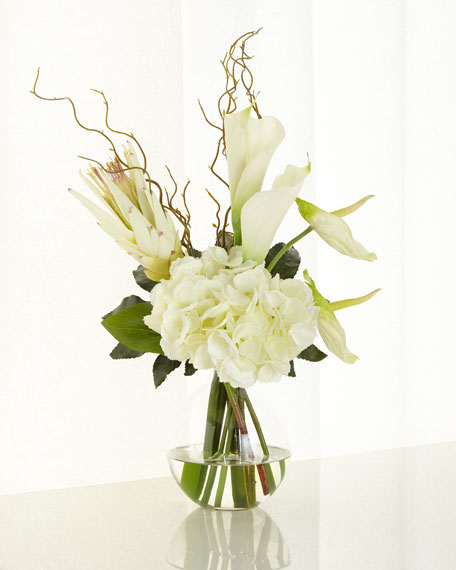 White & Green Faux-Floral Arrangement
