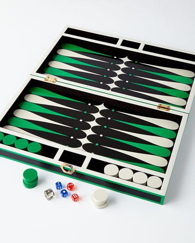 Green Lacquer Backgammon Set