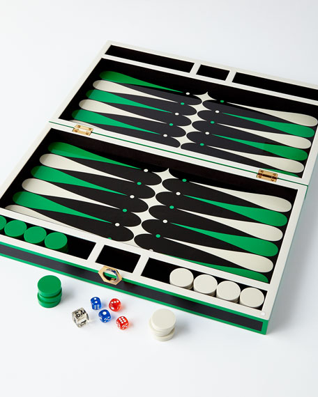 Green Lacquer Backgammon Set