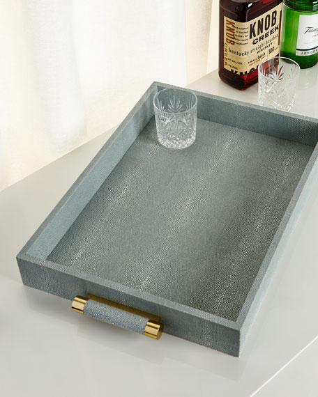 AERIN Mist Classic Faux-Shagreen Serving Tray
