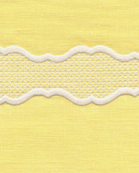 """Embroidered Linen Pillow, 22""""Sq."""