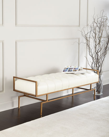 Huggins Tufted Leather Bench