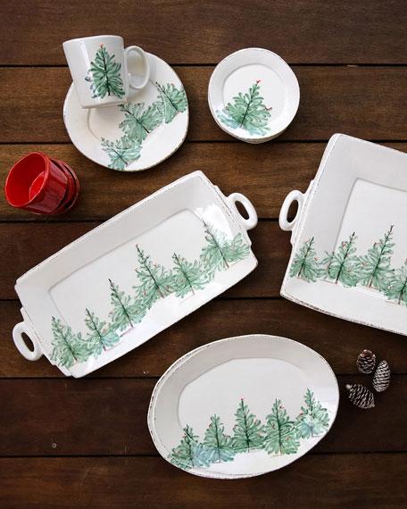 Vietri Lastra Holiday Handled Rectangular Platter