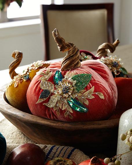 "Katherine's Collection Spice Trader Velvet Pumpkin Decor - Orange (8"")"