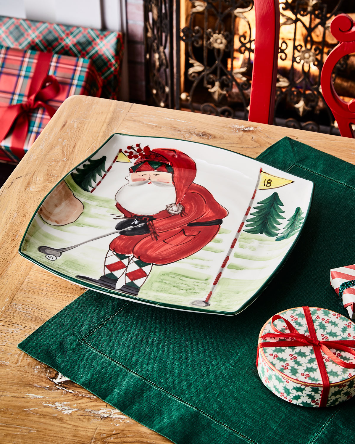Old St. Nick Golfing Square Platter by Vietri