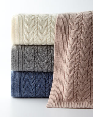 9e08f9bd9d2 Sofia Cashmere Twisted Cable Throw Blanket