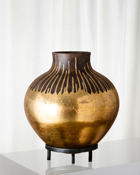 Image 1 of 3: Global Views Anasazi Gold Drops On-Stand Vase