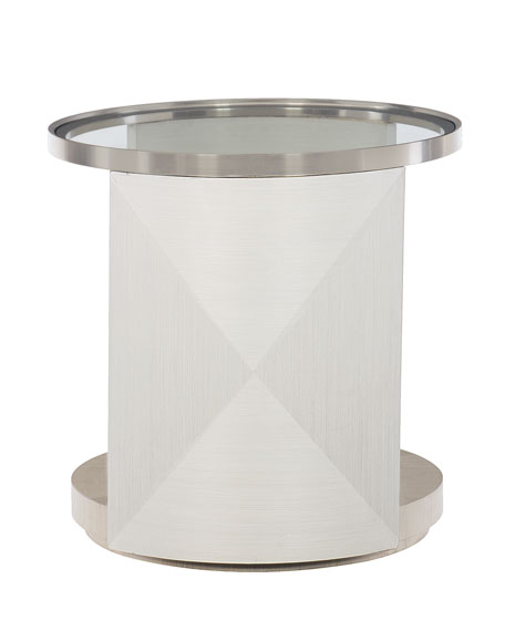 Bernhardt Axiom Glass-Top Oval Side Table