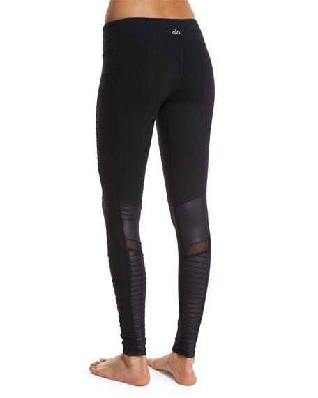 Moto Full-Length Sport Leggings, Black