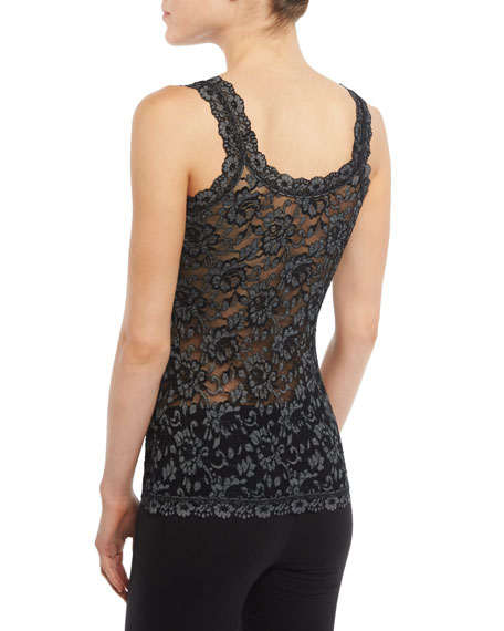 Hanky Panky Cross-Dyed Lace Camisole, Black/Heather