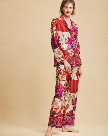 Auburn Floral-Print Charmeuse Pajama Set