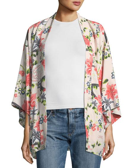 Elizabeth and James Drew Open-Front Floral-Print Silk Kimono