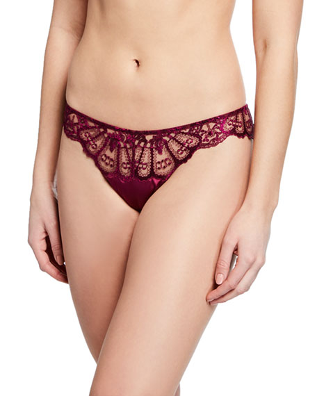 Image 1 of 2: I.D. Sarrieri Desert Rose Tulle & Satin Thong