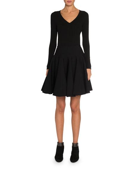 ALAIA Wool Long-Sleeve V-Neck Bodysuit