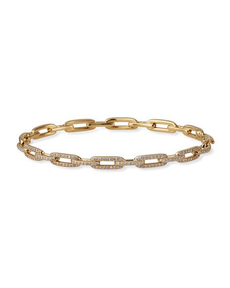 David Yurman Stax Chain Link Bracelet in 18k Yellow Gold w/ Diamonds, Size M