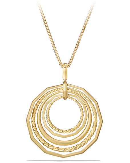 "David Yurman Stax 18k Gold Pendant Necklace with Diamonds, 16"""