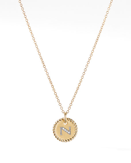 Image 1 of 4: David Yurman Initial N Cable Collectible Necklace with Diamonds
