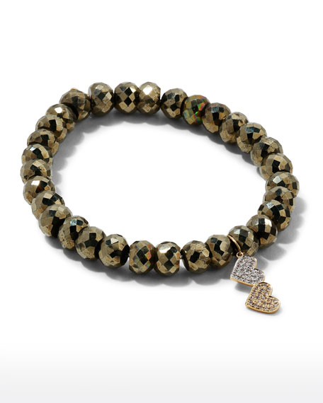 Image 2 of 4: Sydney Evan 8mm Champagne Pyrite Beaded Bracelet with Diamond Double Heart Charm