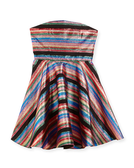 Milly Minis Ellie Multi-Stripe Illusion Lurex® Strapless Dress,