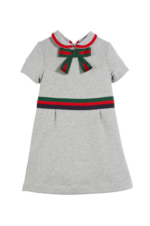Gucci Web-Trim Bow Felted Cotton Jersey Dress, Size 4-12