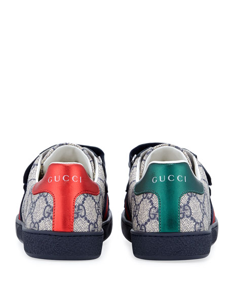 Gucci New Ace GG Supreme Canvas Web-Trim Sneakers, Kids