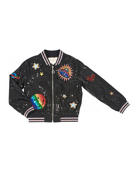 Sequin Bomber Jacket w/ Space Patches, Size 7-16