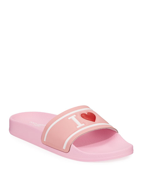 Dolce & Gabbana Leather I Heart D&G Pool Slide Sandals, Kids
