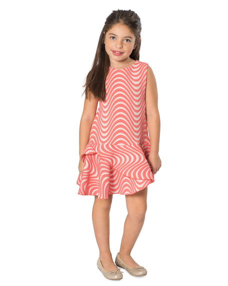 Zoe Metallic Wave Jacquard Dress, Size 4-6X