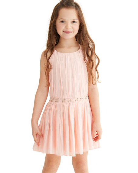 Velveteen Andrea Pleated Party Dress w/ Embellished Waist, Size 4-6