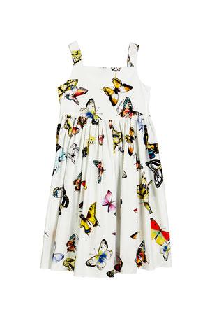Dolce & Gabbana Butterfly-Print Poplin Sleeveless Dress, Size 8-12