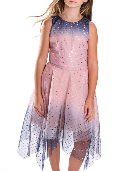 Zoe Girl's Odette Ombre Tulle Scattered Star Dress, Size 4-6X