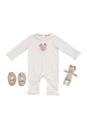 Albetta Girl's Reindeer Romper w/ Booties & Rattle, Size 0-9 Months