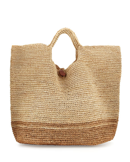 Tash Two-Tone Beach Tote Bag, Neutral