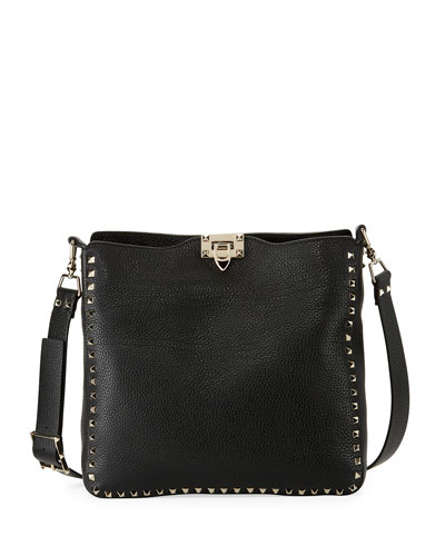 Rockstud Medium Leather Hobo Bag