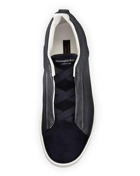 Ermenegildo Zegna Couture Triple-Stitch Leather & Suede Low-Top Sneaker, Navy
