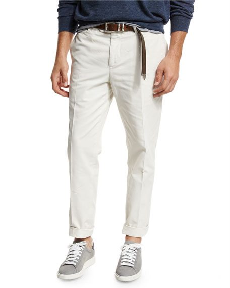 Brunello Cucinelli Lightweight Flat-Front Pants