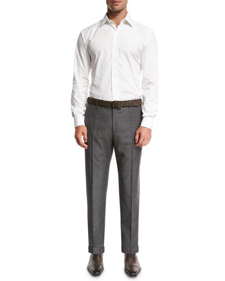 Super 130s Wool Sharkskin Trousers