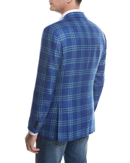 Large Plaid Three-Button Sport Coat, Blue