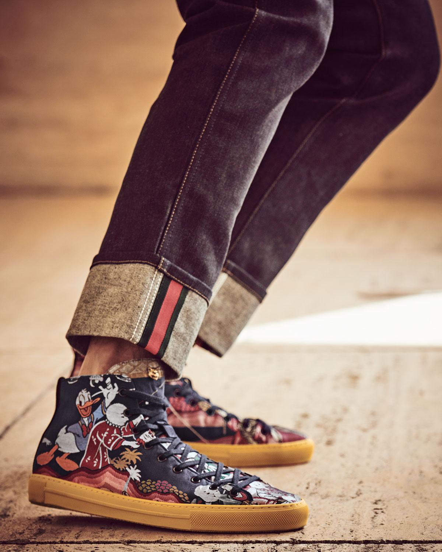 54c91993cd3b Gucci Donald Duck Men's Jacquard High-Top Sneaker, Multicolor | Neiman  Marcus