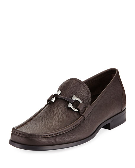 Salvatore Ferragamo Textured Calfskin Gancini Loafer and Matching