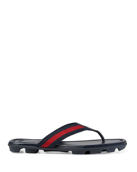 Gucci Web & Leather Thong Sandals