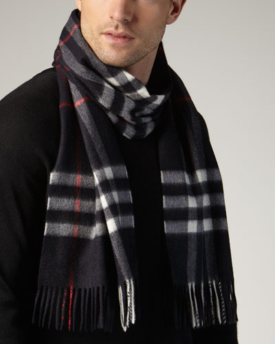 Men's Cashmere Giant Icon Scarf, Navy