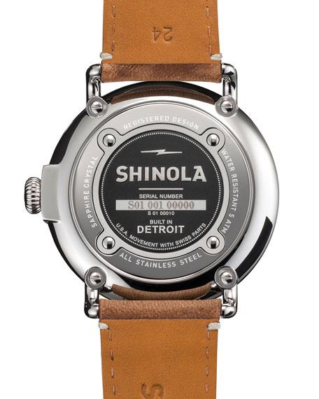 Shinola Men's 47mm Runwell Men's Watch, White/Brown