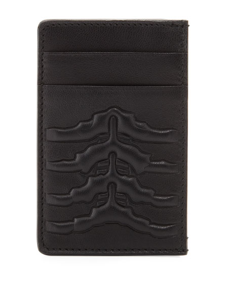 Alexander McQueen Ribcage-Embossed Card Case, Black